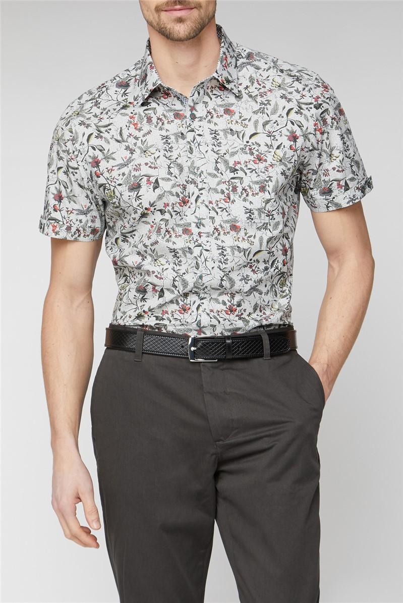 Stvdio Casual Grey Highlight Leaf Print Shirt