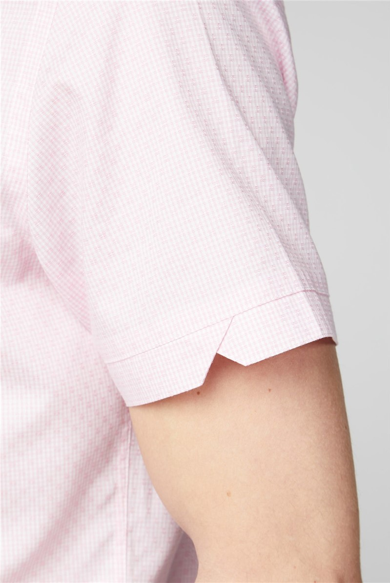 Stvdio Tailored Fit Casual Pink Weave Check Shirt