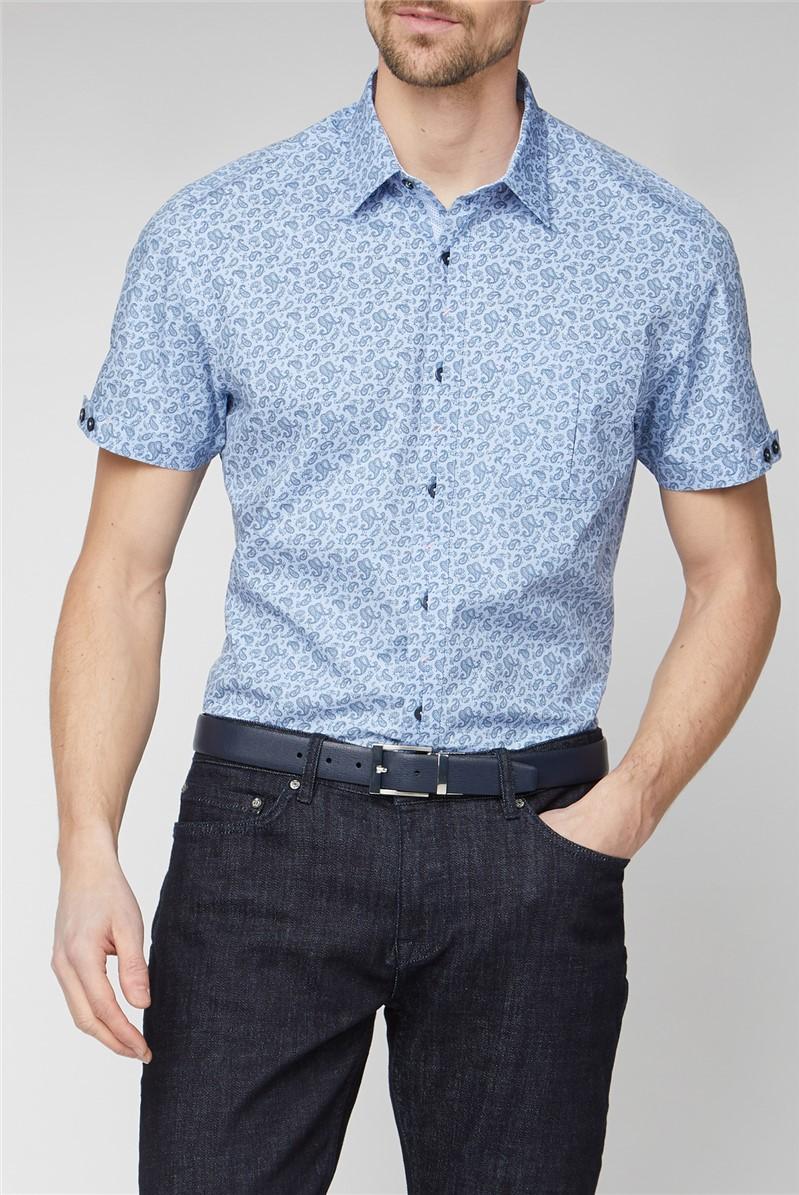 Stvdio Casual Light Blue Paisley Print Shirt
