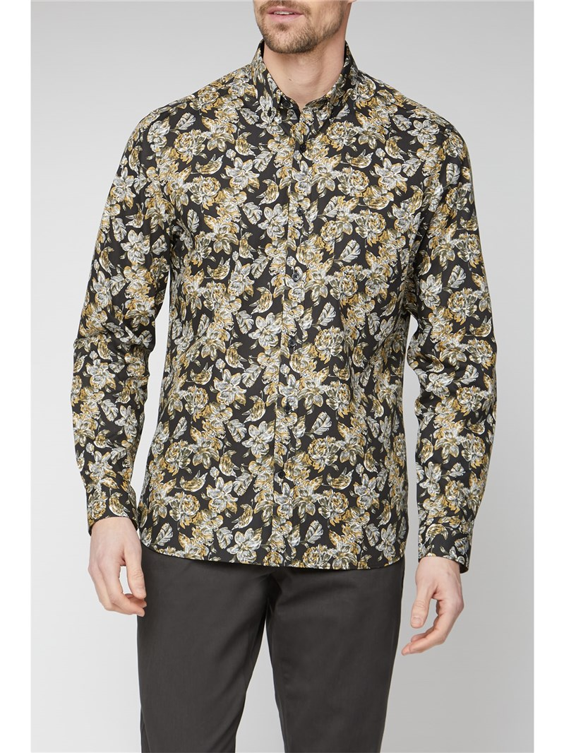 Stvdio Casual Black Large Floral Print Shirt