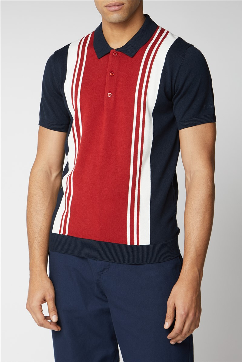 Stripe Front Knitted Polo