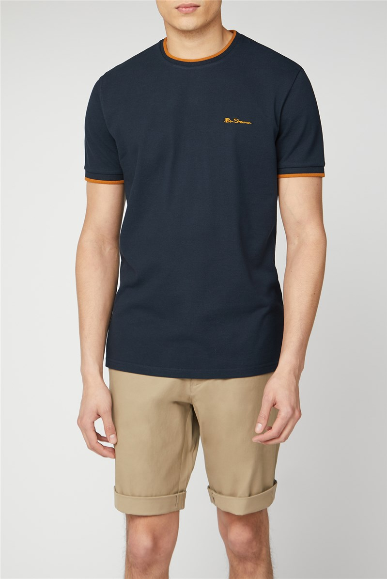 Navy Pique T-shirt with Tipping