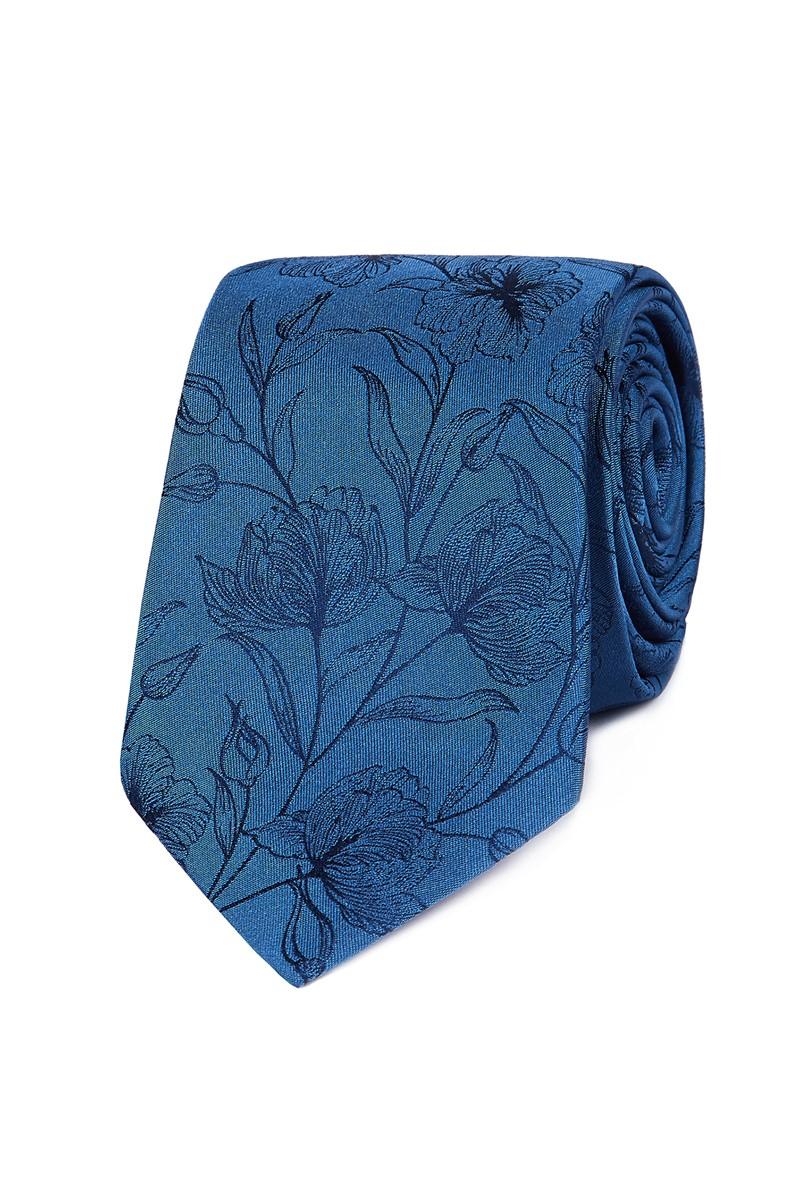 Stvdio Blue Etched Floral Tie