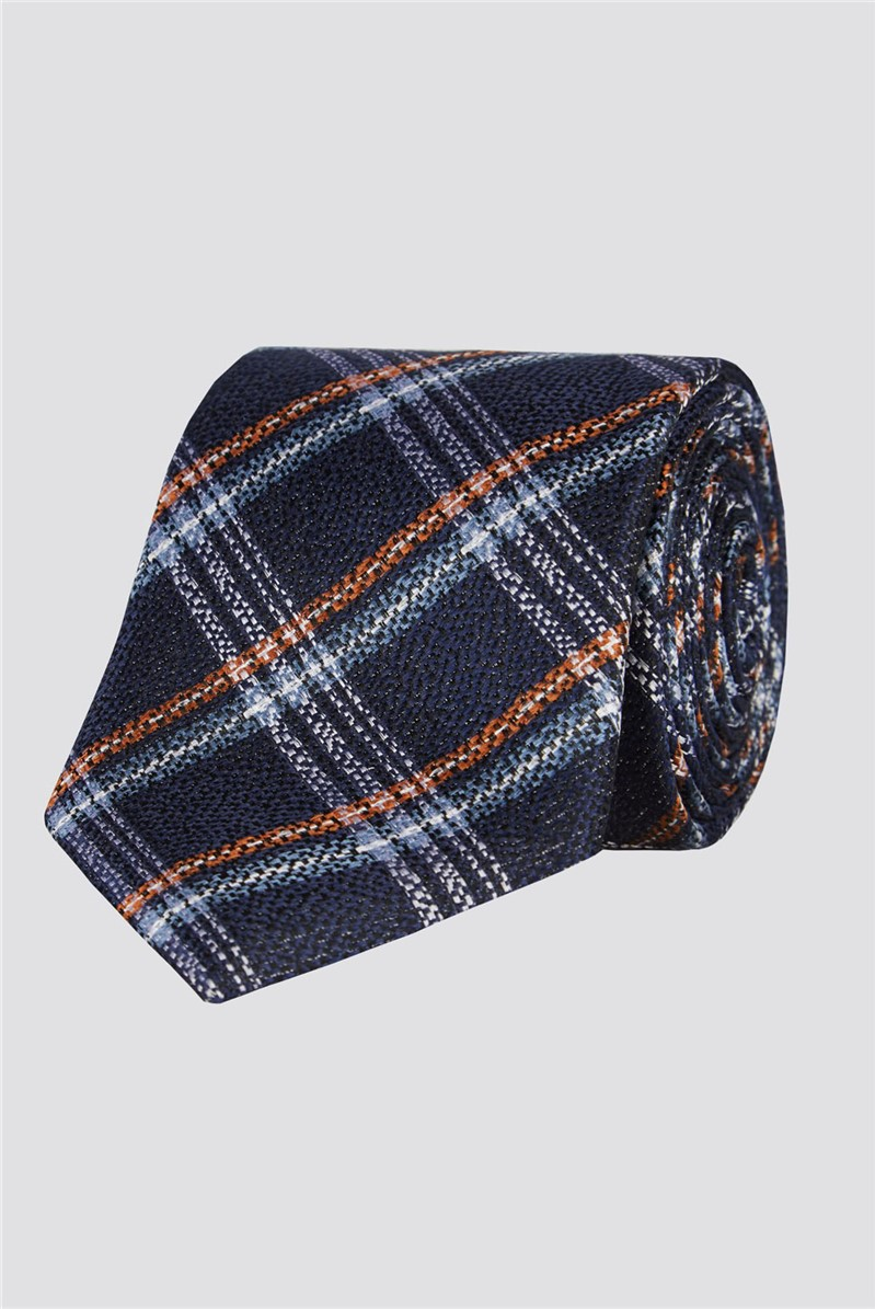Stvdio Blue Textured Check Tie