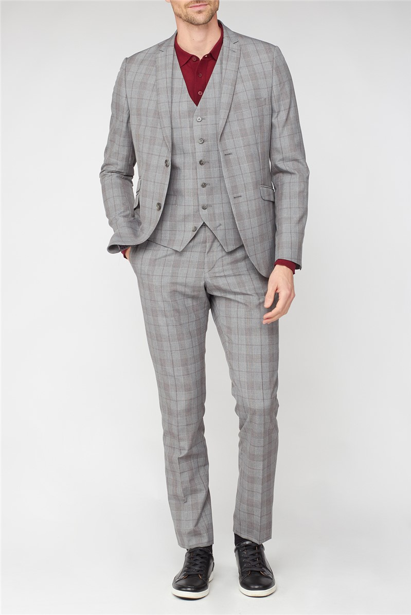 Studio Grey with Red Check Brit Super Slim Fit Suit