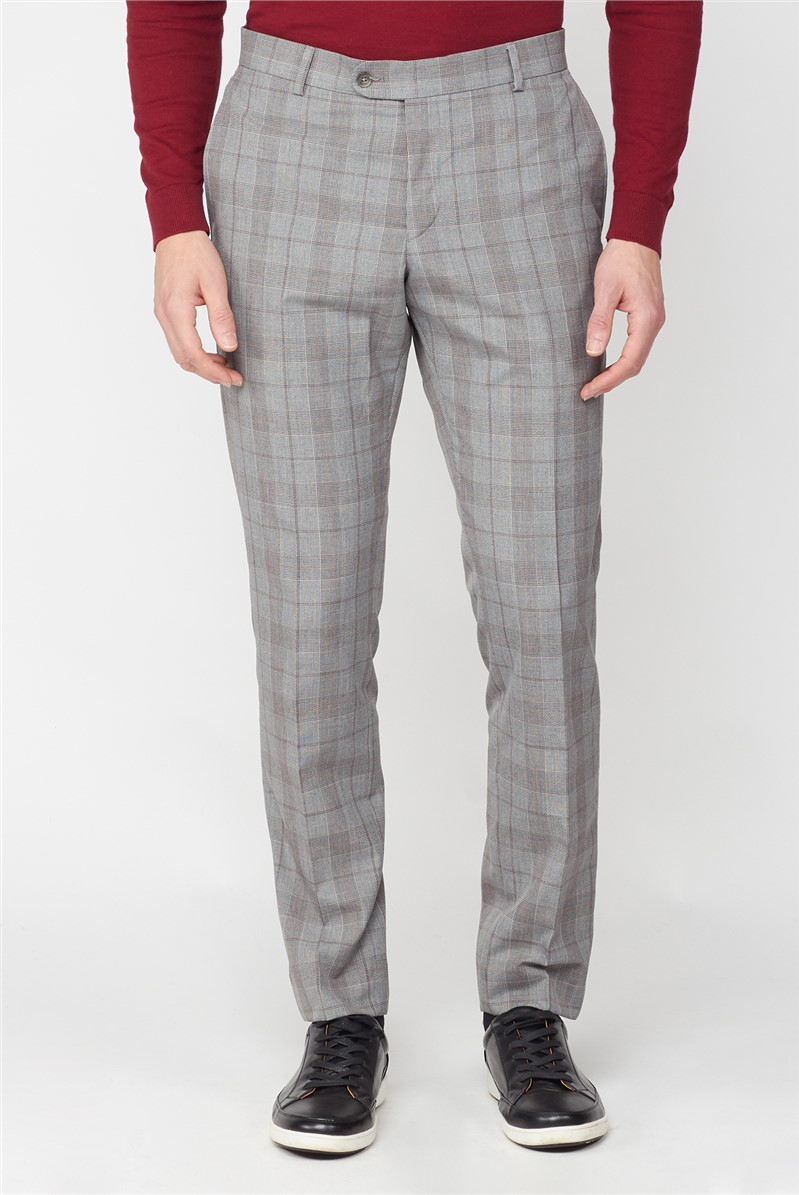 Studio Grey with Red Check Brit Super Slim Fit Suit Trousers