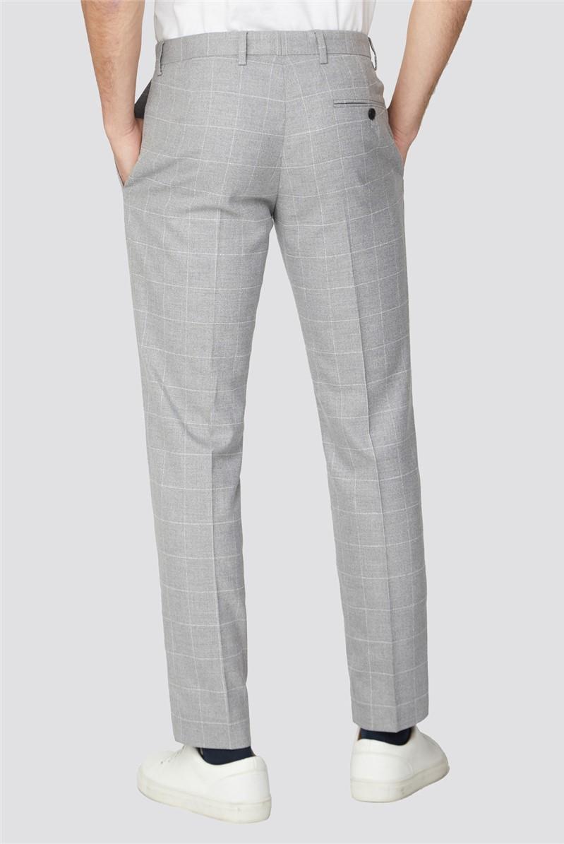 Grey Windowpane Check Slim Fit Suit