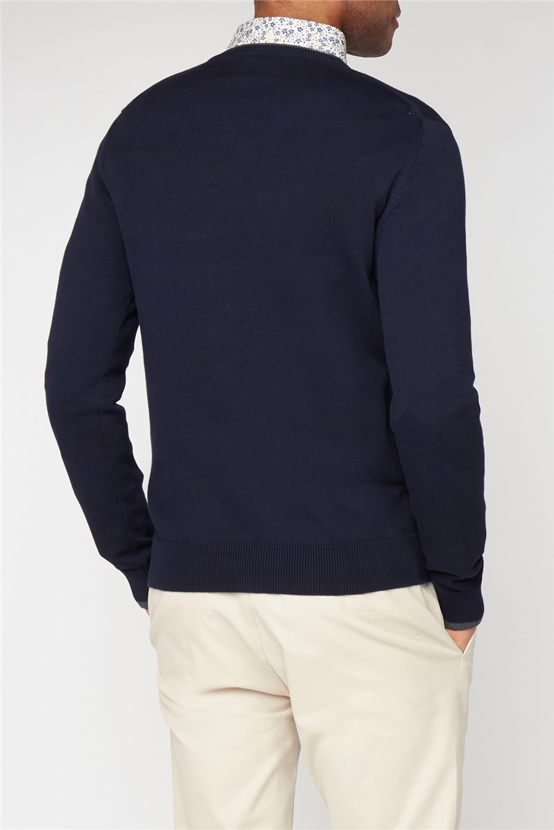 Navy Cotton V-Neck Jumper
