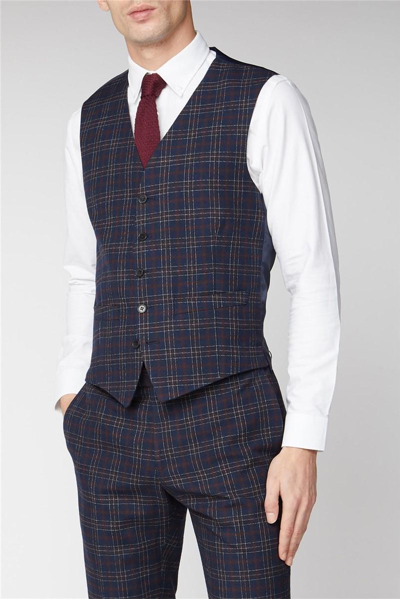 Navy Burgundy Bold Check Slim Fit Waistcoat