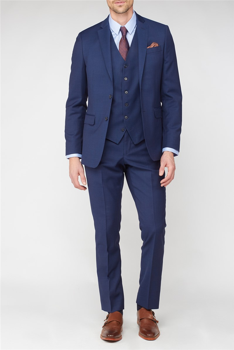 Stvdio Blue Textured Performance Tailored Fit Suit