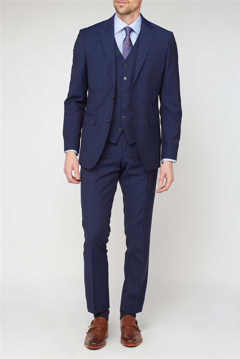 Studio Blue Check Performance Tailored Fit Suit