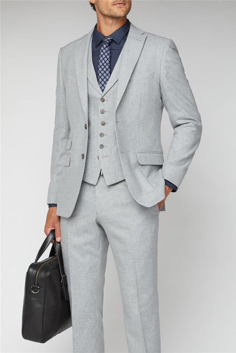 Light Grey Donegal Tailored Fit Suit Trousers