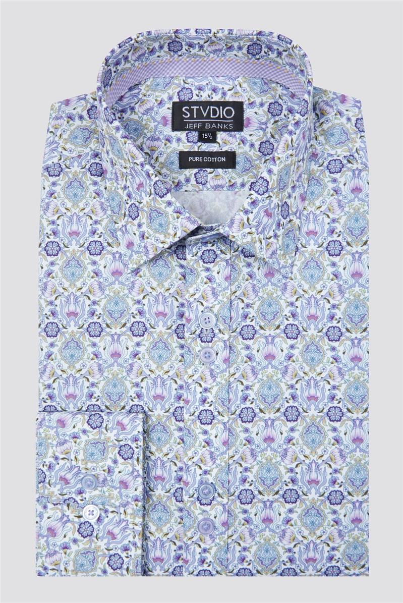 Stvdio Lilac Ornate Baroque Print Shirt