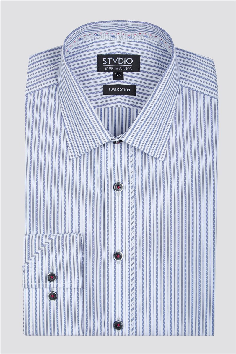 Stvdio by Navy Zig Zag Stripe Shirt
