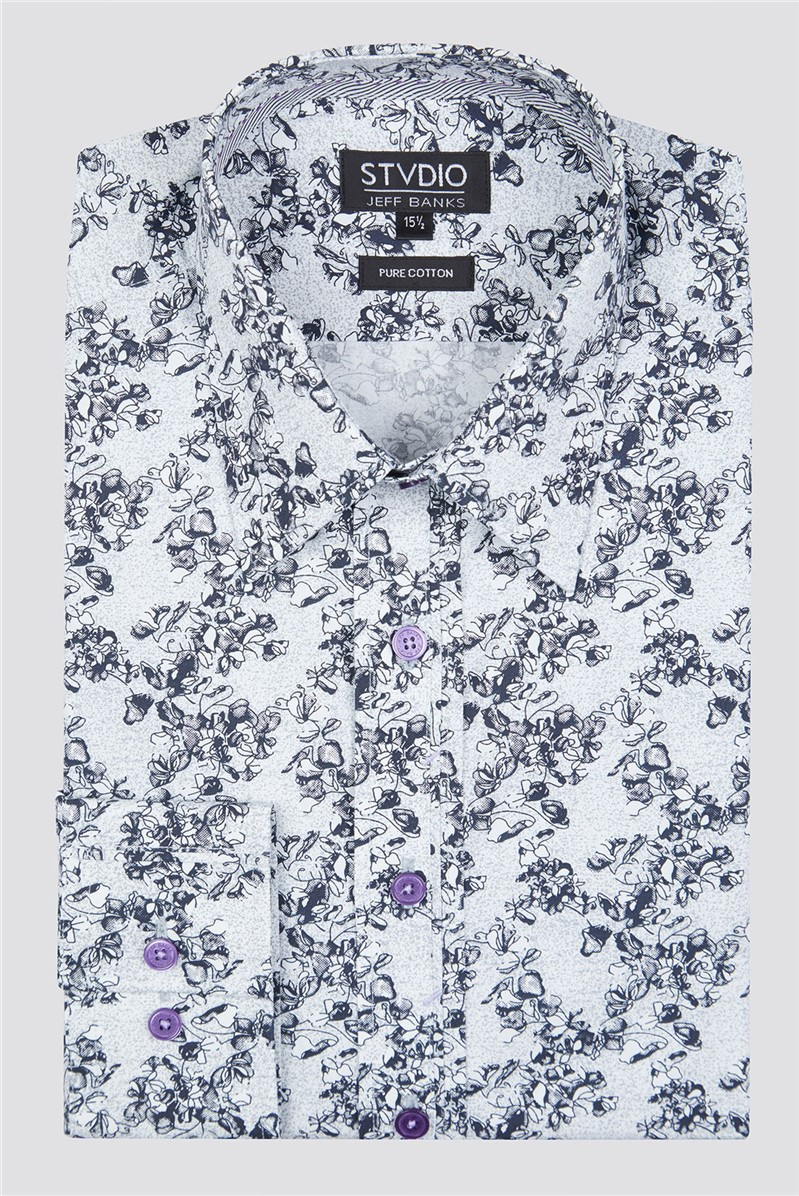 Stvdio by Grey Sketch Roses Print Shirt