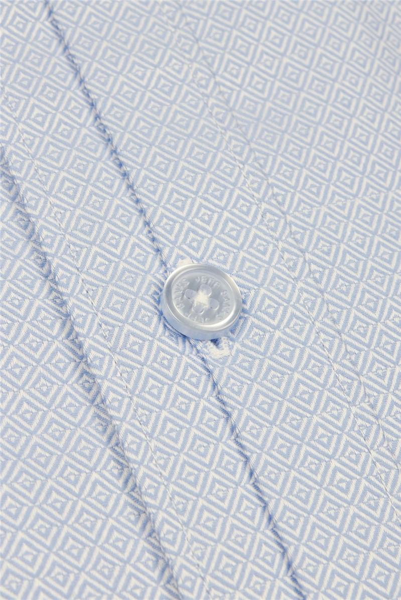 Stvdio Light Blue Diamond Jacquard Shirt