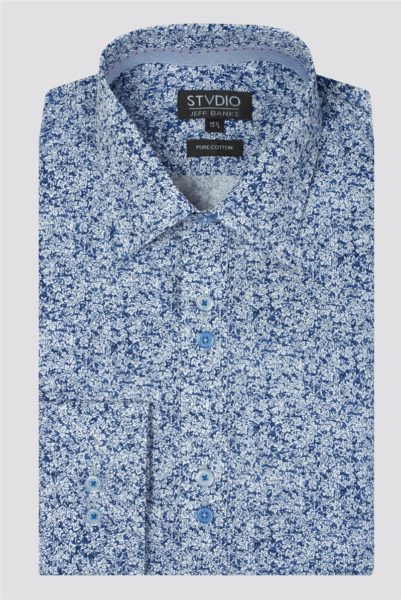 Stvdio Navy Leaves Print Shirt