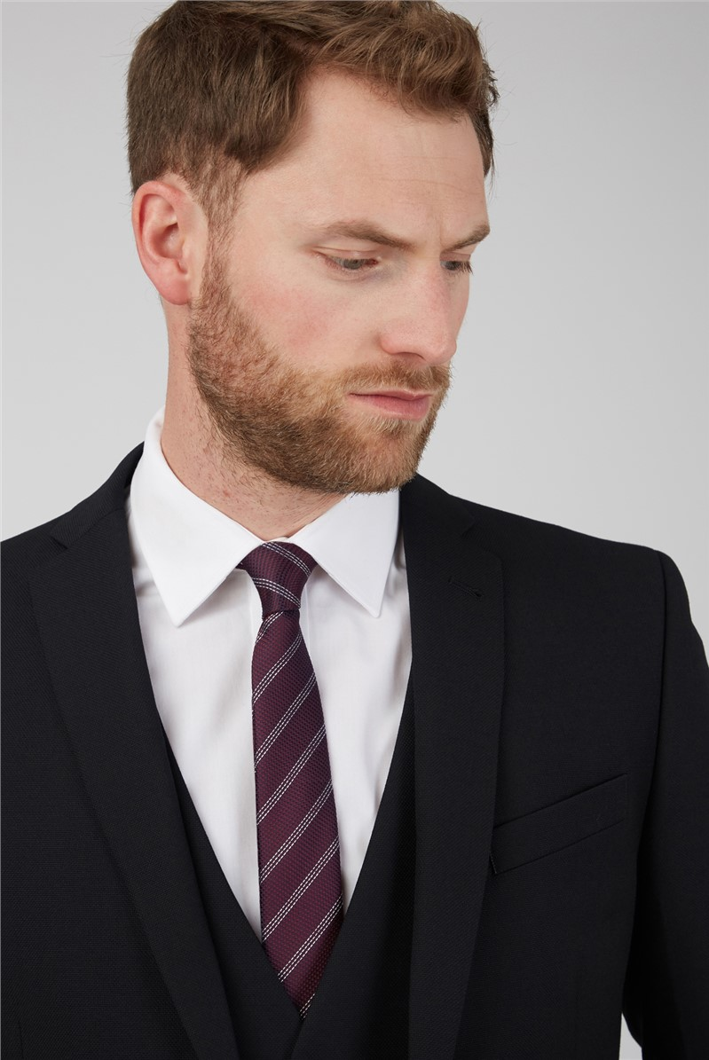 Black Textured Tailored Fit Suit Trousers