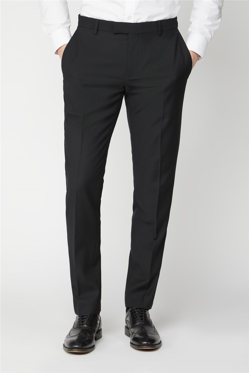 Black Textured Regular Fit Suit Trousers