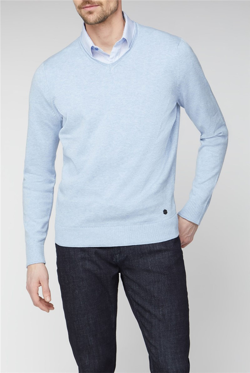 London Light Blue V Neck Jumper