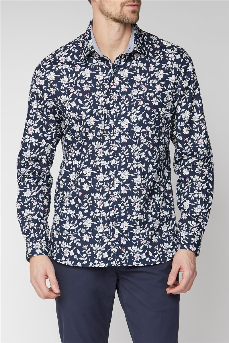 Casual Navy Sketch Floral Print Shirt