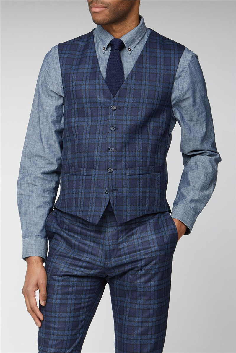 Blue Bold Check Slim Fit Waistcoat