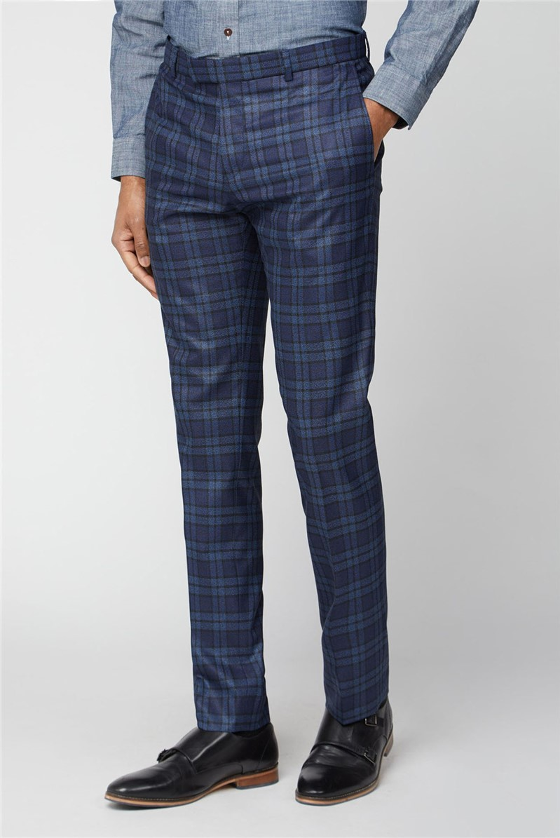 Blue Bold Check Slim Fit Suit Trousers