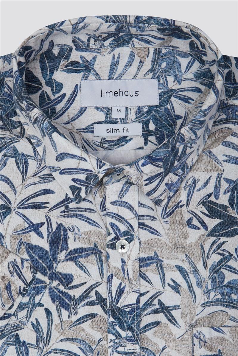 Neutral Summer Leaf Print Shirt