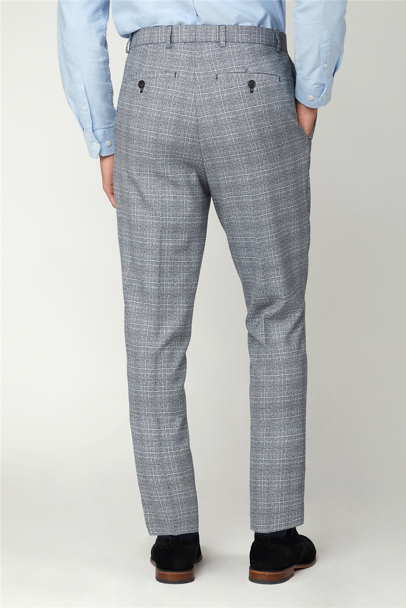 Black and White Jaspe Check Trousers