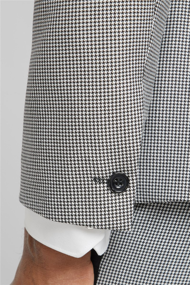 Black Puppytooth Check Suit Trousers