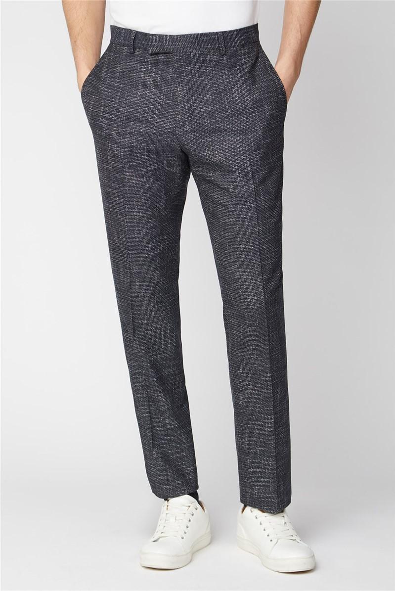 Navy Speckle Texture Suit Trousers