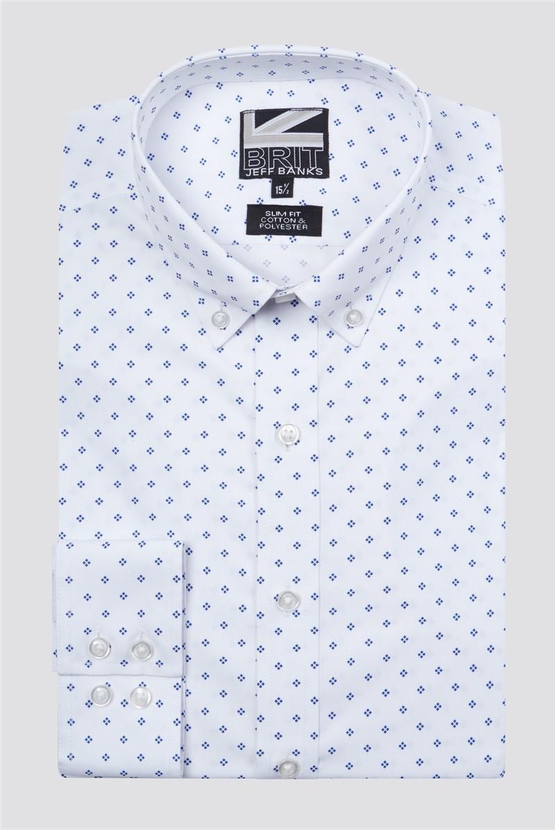 Brit White Geo Print Shirt