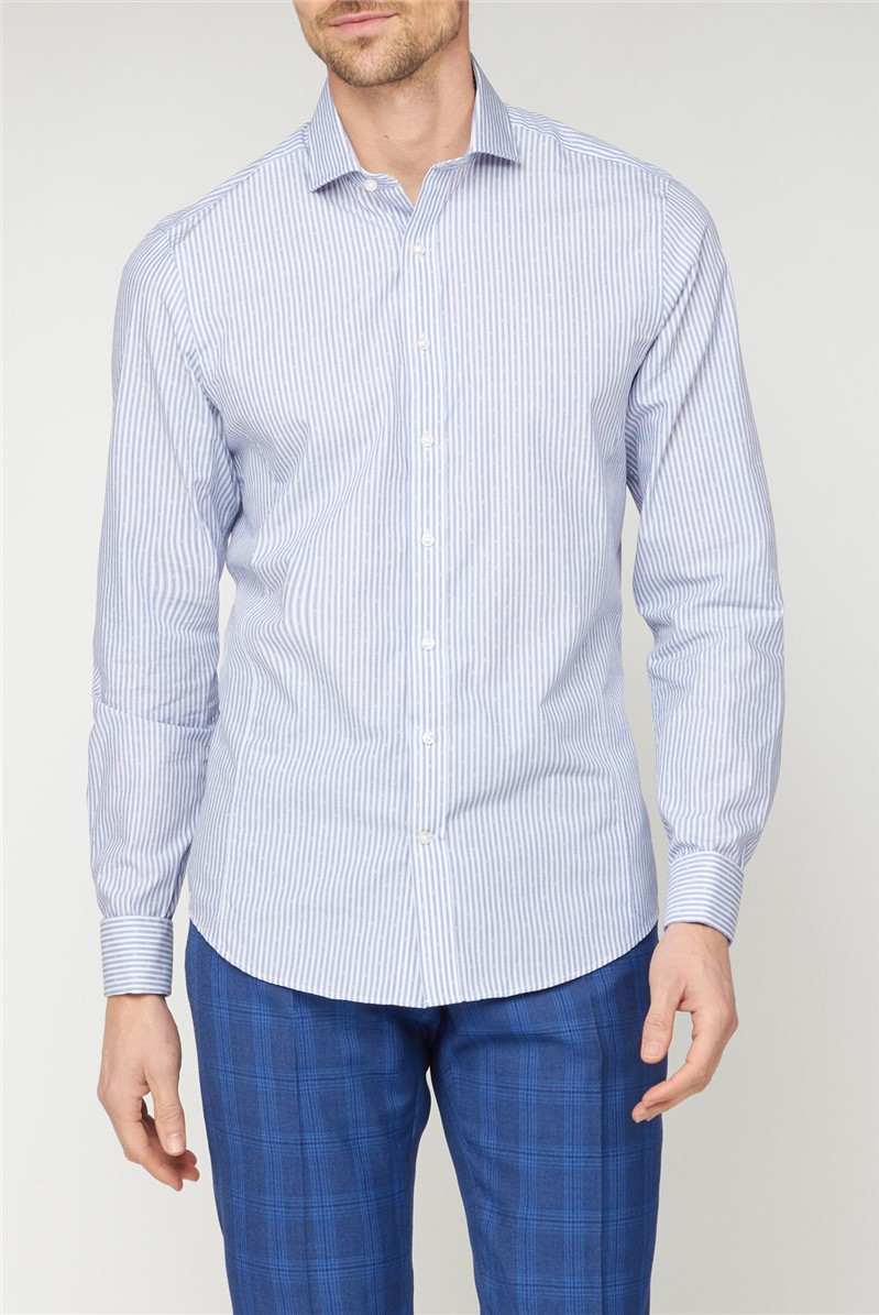 Brit Blue Dobby Square Stripe Shirt