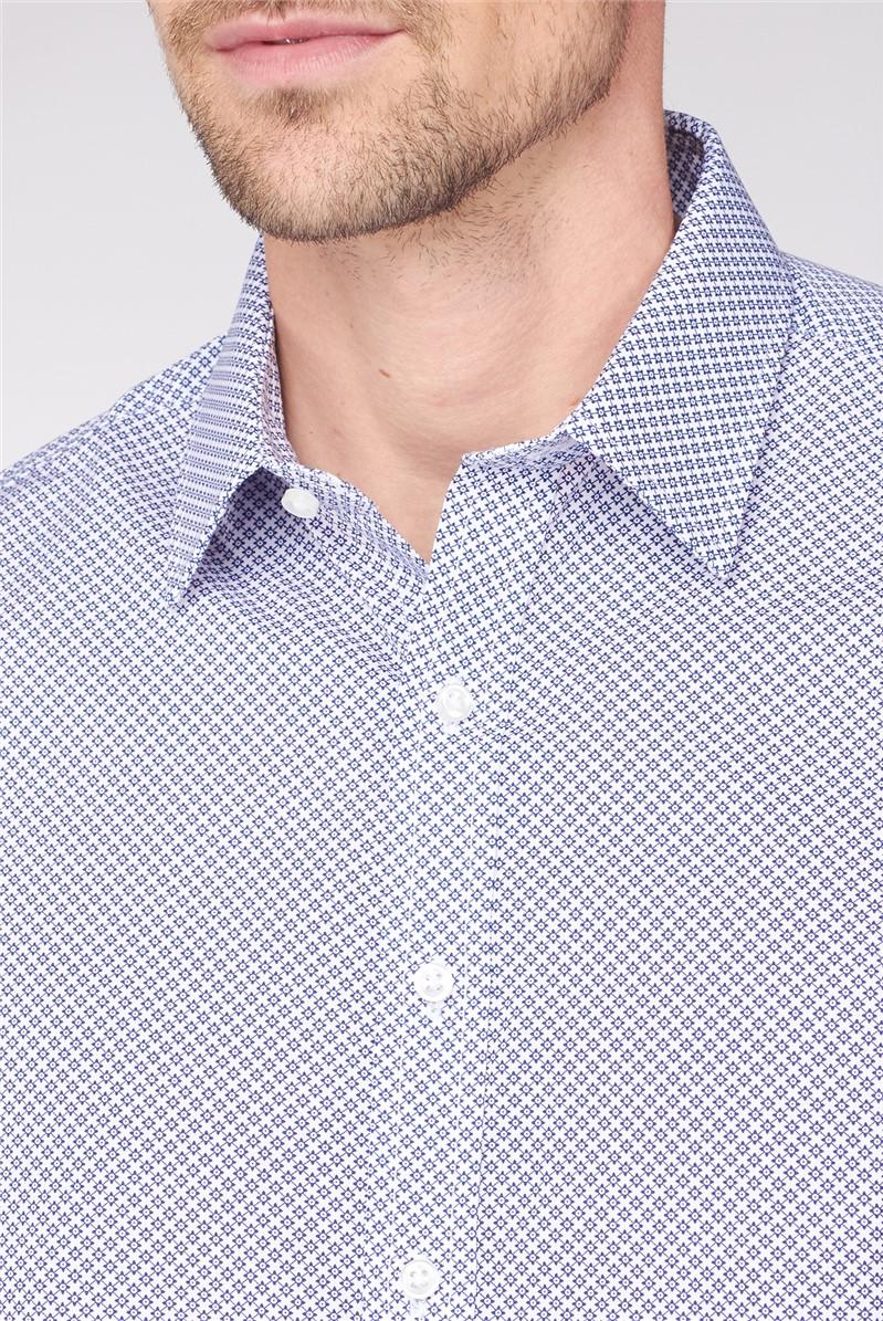 Brit Navy Star Geo Print Slim Fit Shirt