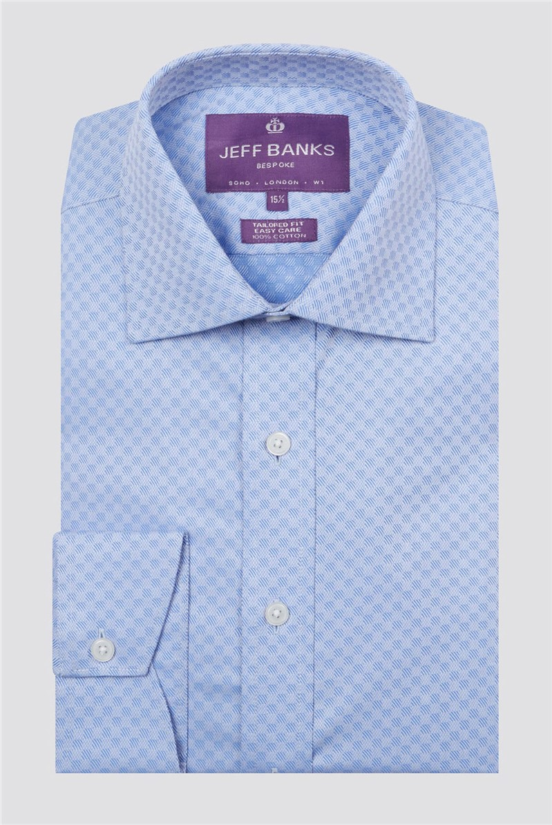 Bespoke Light Blue Square Textured Shirt
