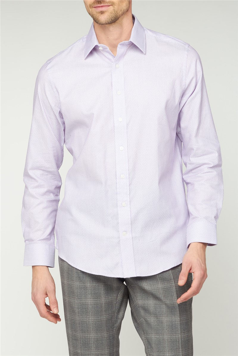 Bespoke Lilac Square Dobby Shirt