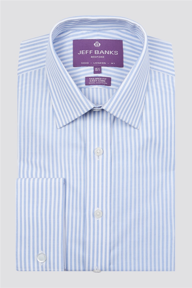 Bespoke Light Blue Slub Fine Stripe Shirt