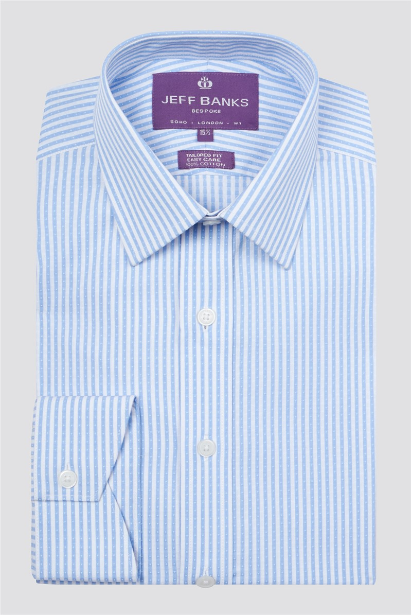 Bespoke Light Blue Dobby Stripe Shirt