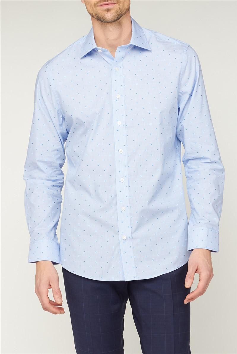 Bespoke Light Blue Spot Dobby Stripe Shirt