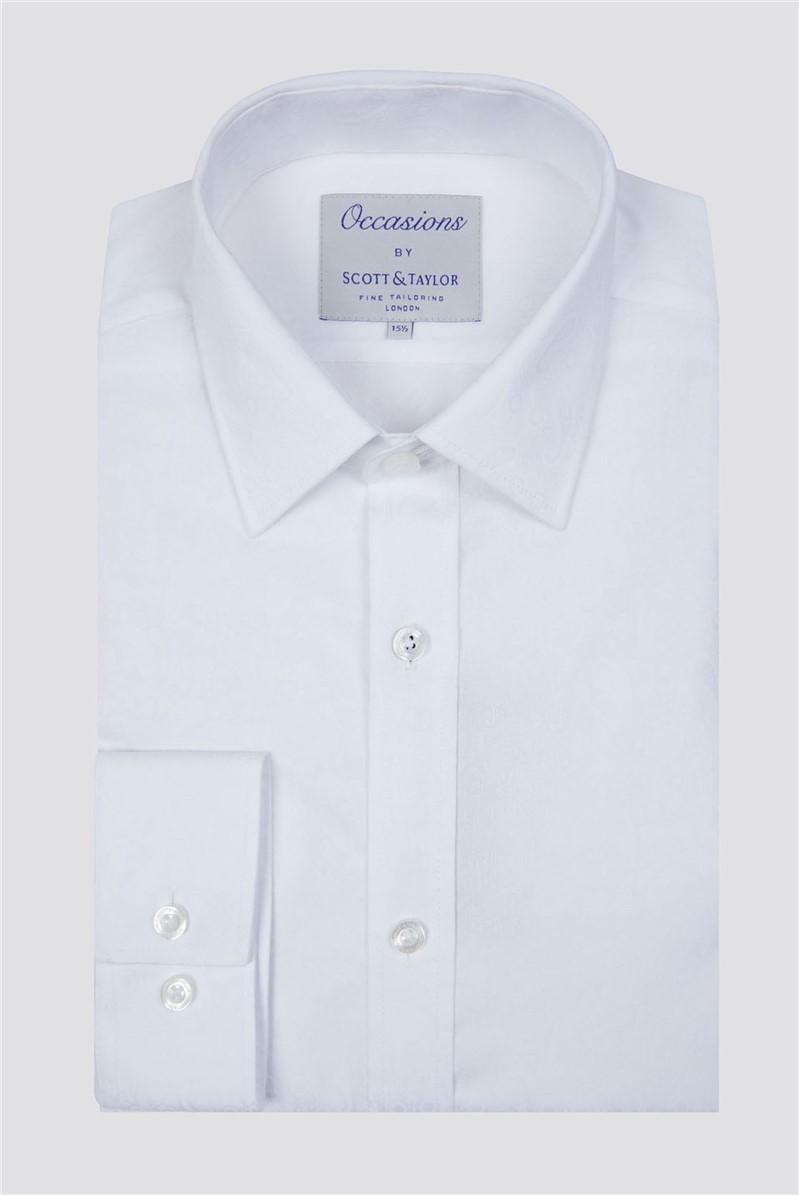Occasions Scott & Taylor White Paisley Jacquard Shirt