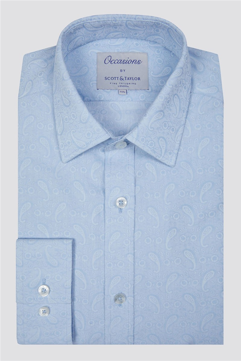 Occasions Scott & Taylor Light Blue Paisley Jacquard Shirt