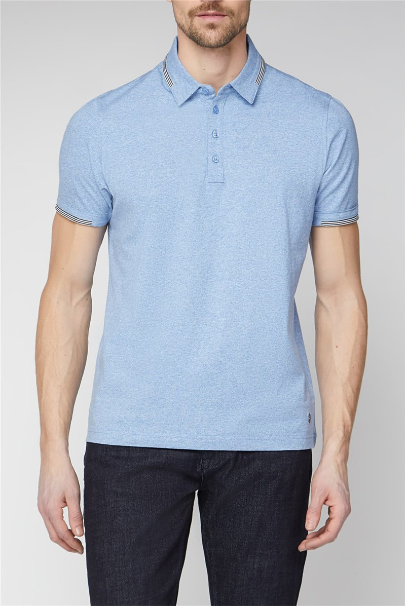 London Light Blue Stripe Collar Polo