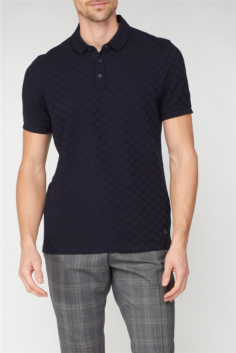 London Navy Square Jacquard Polo