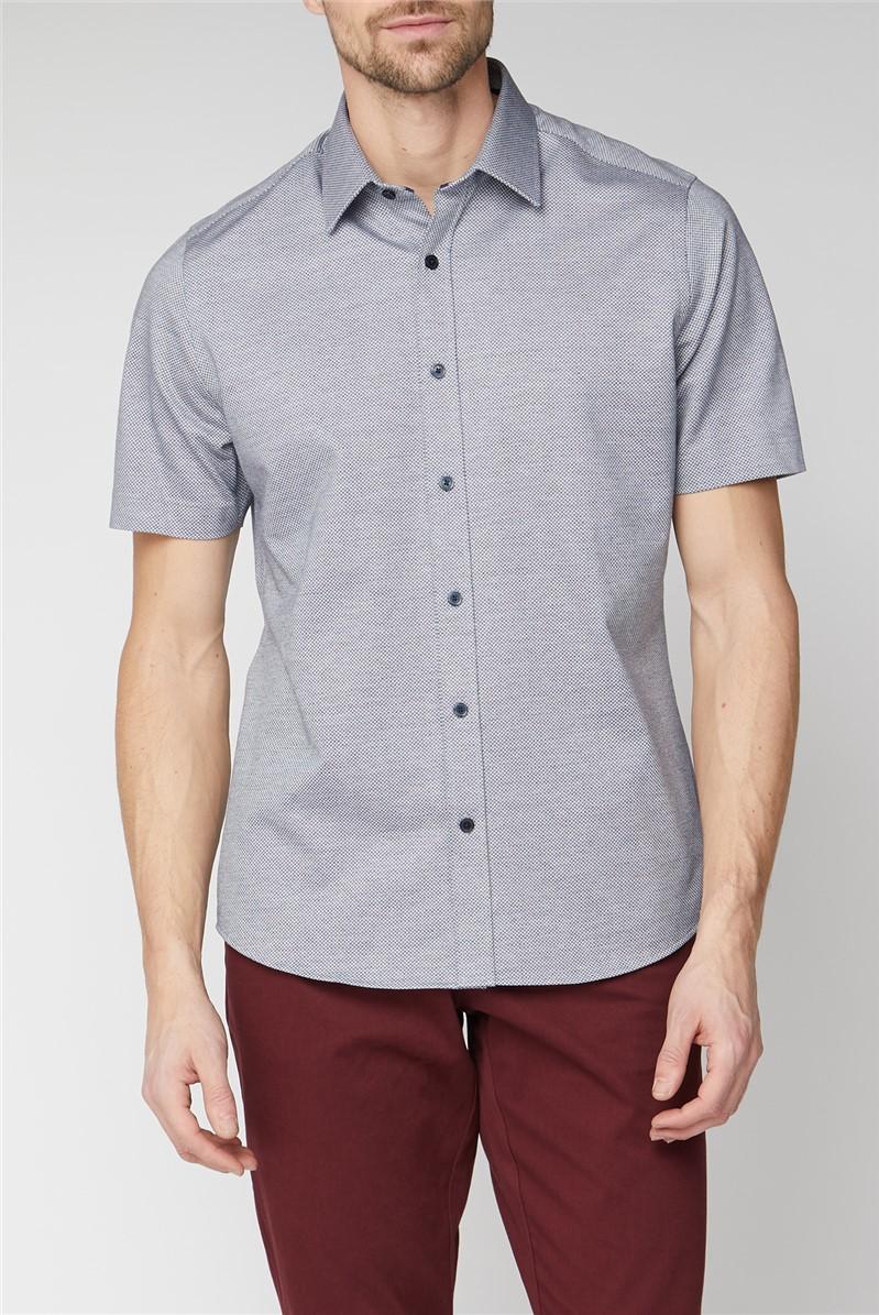 London Short Sleeve Navy Jacquard Jersey Shirt