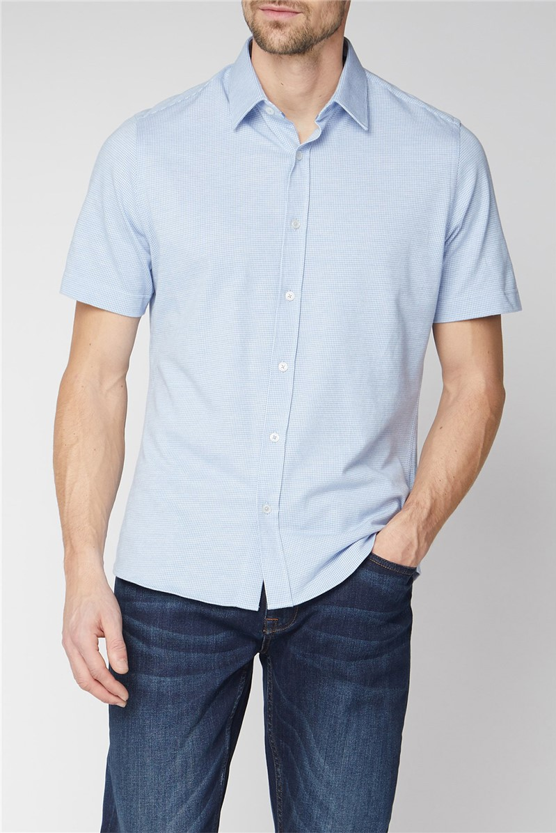 London Short Sleeve Light Blue Jacquard Jersey Shirt