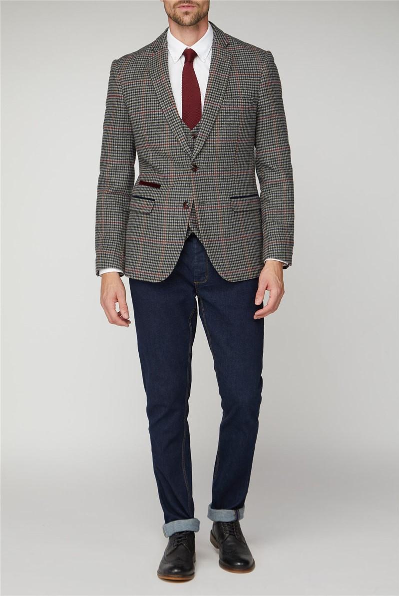 Edward Navy Grey Check Tweed Jacket
