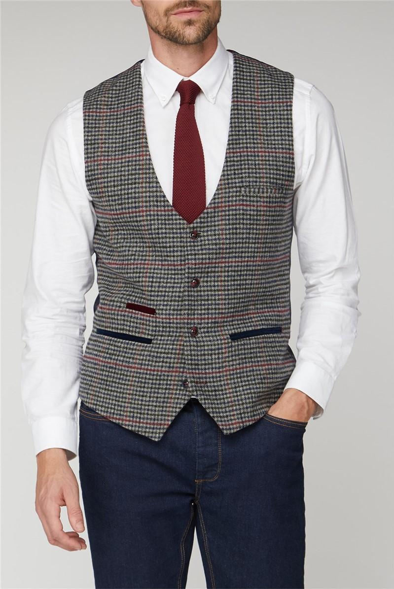 Edward Navy Grey Tweed Check Waistcoat