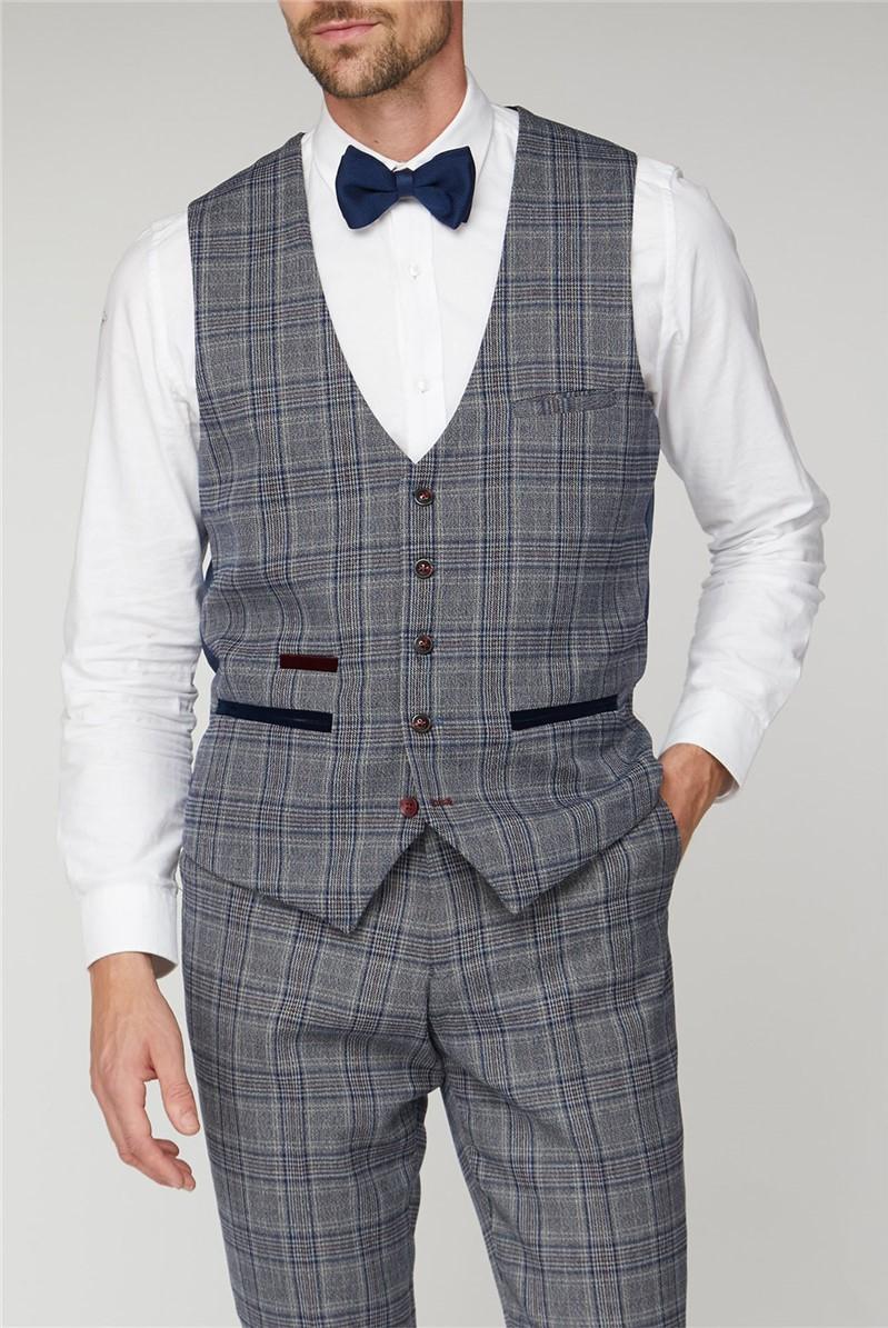 Enzo Blue Grey Check Tweed Waistcoat