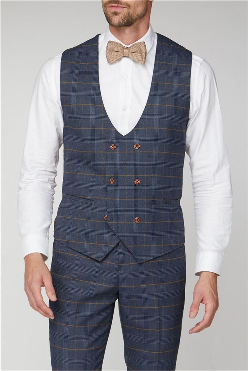 Jenson Navy Check Suit Waistcoat
