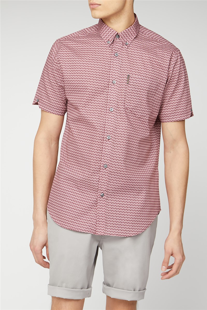Wine Geo Short Sleeve Shirt